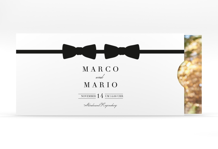 """Hochzeitseinladung """"Suits"""" Einsteckkarte schwarz"""