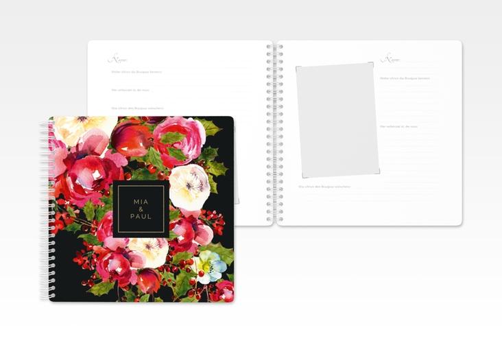 """Gästebuch Hochzeit """"Blumenpracht"""" Ringbindung schwarz"""