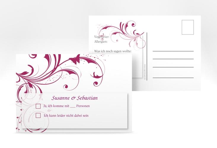 "Antwortkarte Hochzeit ""Palma"" A6 Postkarte pink"