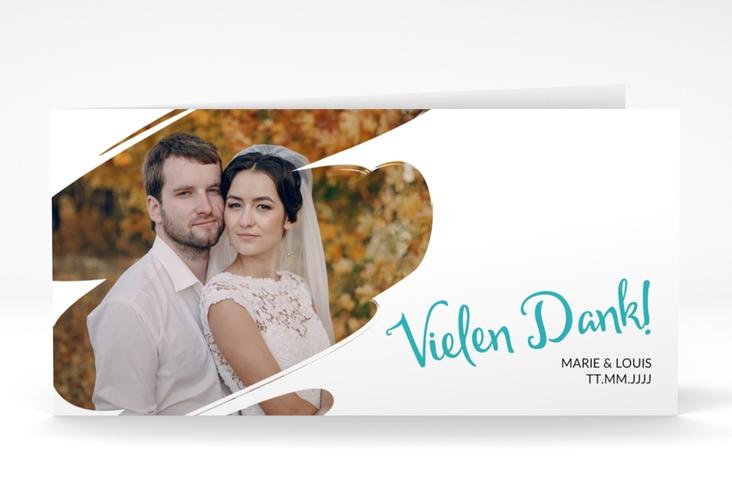 """Dankeskarte Hochzeit  """"Felice"""" DIN lang Klappkarte tuerkis"""