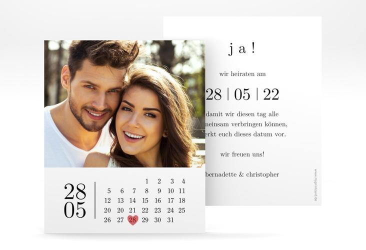 """Save the Date-Kalenderblatt """"Minimal"""" Kalenderblatt-Karte"""