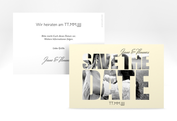 "Save the Date-Karte Hochzeit ""Letters"" A6 quer beige"