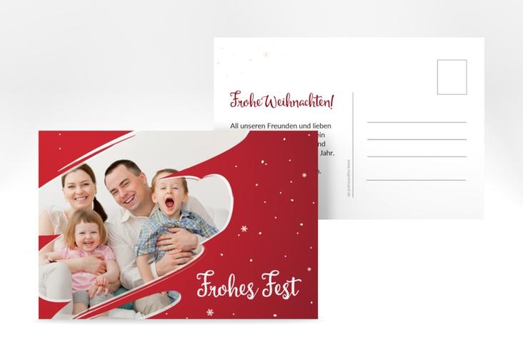 "Weihnachtskarte ""Ice"" A6 Postkarte rot"