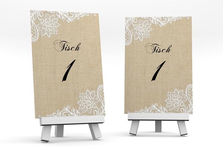 """Tischnummer Hochzeit """"Lace"""" Tischaufsteller"""
