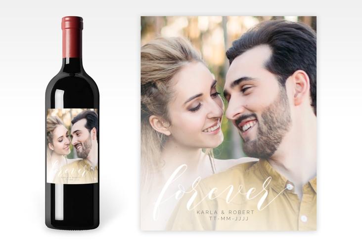 """Weinetikett zur Hochzeit """"Promise"""" Etikett Weinflasche 4er Set weiss"""