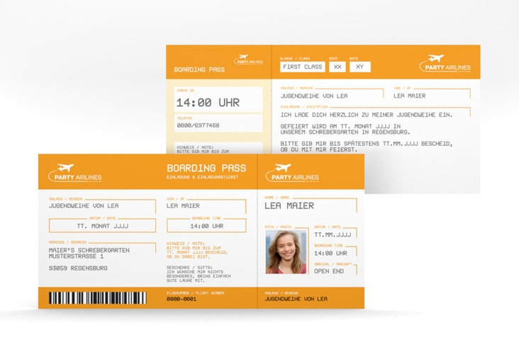 """Einladung Jugendweihe """"Ticket"""" DIN lang orange"""