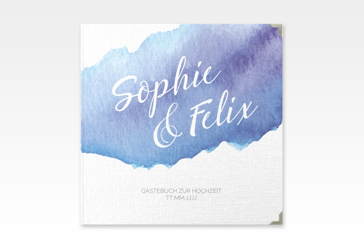 "Gästebuch Selection Hochzeit ""Aquarella"" Leinen-Hardcover blau"