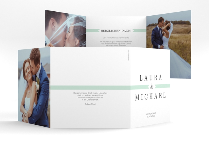 """Dankeskarte Hochzeit """"Tender"""" Quadr. Karte doppelt mint"""