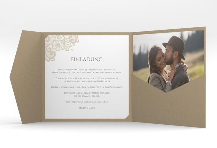 """Hochzeitseinladung """"Vintage"""" Pocketfold beige"""