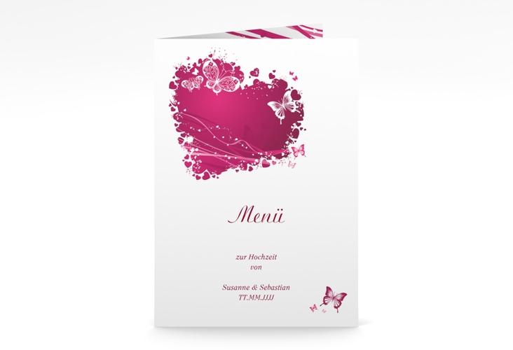 """Menükarte Hochzeit """"Mailand"""" DIN A5 geklappt pink"""