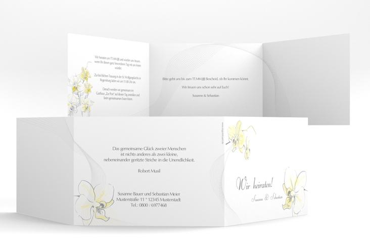 """Einladung Hochzeit """"Modena"""" A6 doppelt geklappt gelb"""