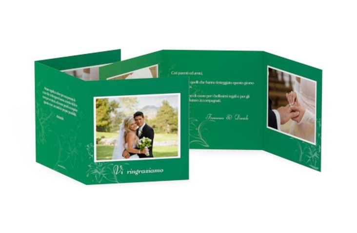Ringraziamenti matrimonio collezione Lille Quadr. Karte doppelt verde