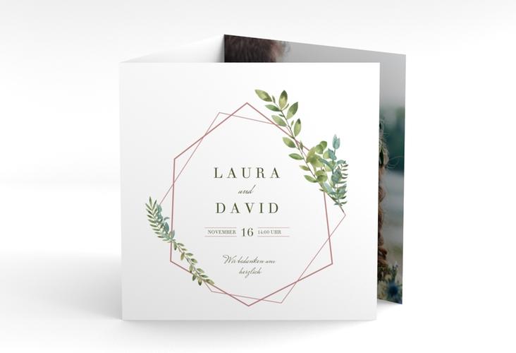 "Dankeskarte Hochzeit ""Herbarium"" Quadr. Karte doppelt rosa"