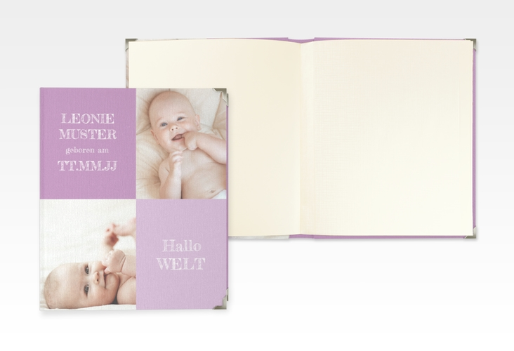 "Baby Fotoalbum ""Freude"" 21 x 25 cm lila"