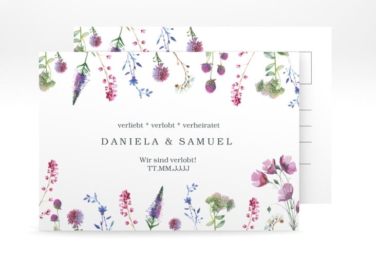 """Verlobungskarte Hochzeit """"Wildblumen"""" A6 Postkarte"""