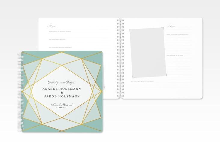 "Gästebuch Hochzeit ""Geometric"" Ringbindung tuerkis"
