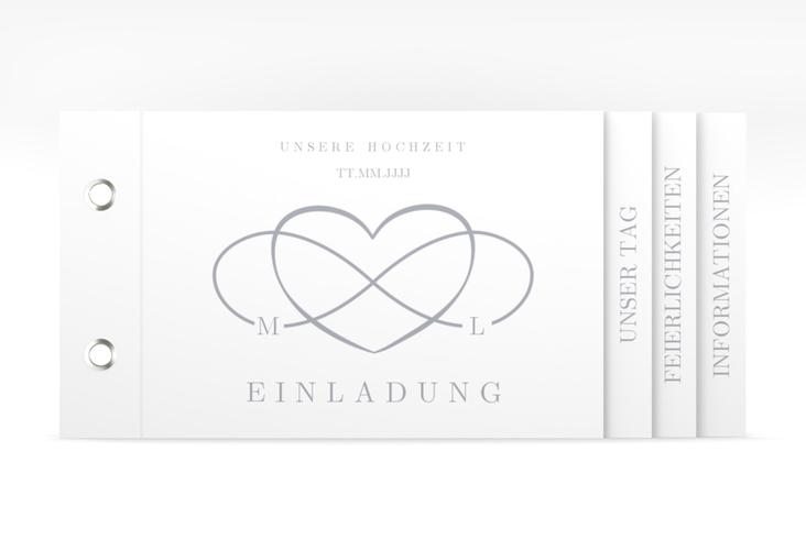 """Hochzeitseinladung """"Infinity"""" Booklet grau"""