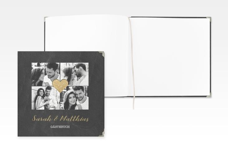 """Gästebuch Selection Hochzeit """"Sparkly"""" Leinen-Hardcover gold"""