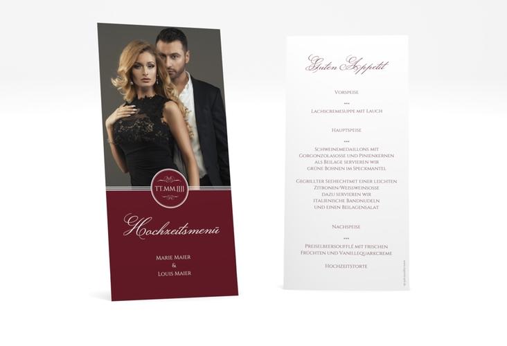 "Menükarte Hochzeit ""Elegancy"" DIN lang hoch rot"