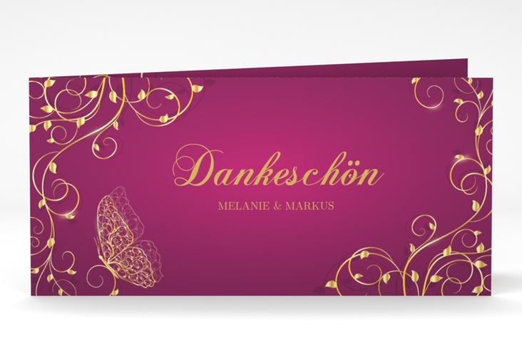 "Danksagungskarte Hochzeit ""Eternity"" DIN lang Klappkarte pink"