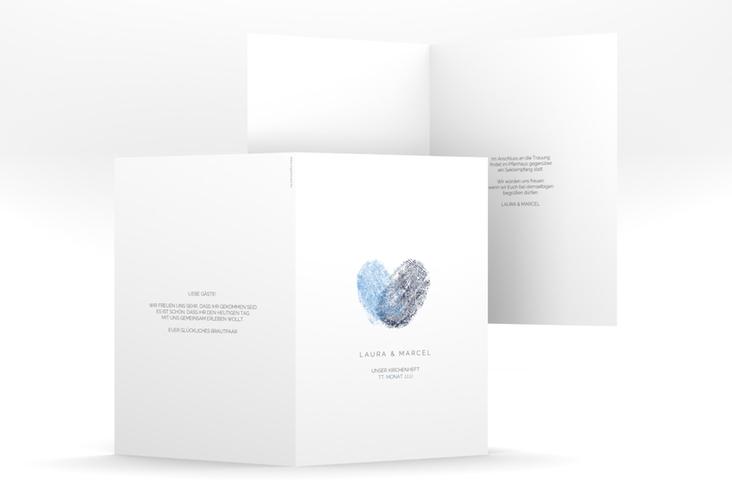 """Kirchenheft Hochzeit """"Fingerprint"""" DIN A5 geklappt blau"""