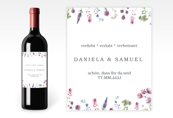 """Weinetikett zur Hochzeit """"Wildblumen"""" Etikett Weinflasche 4er Set weiss"""
