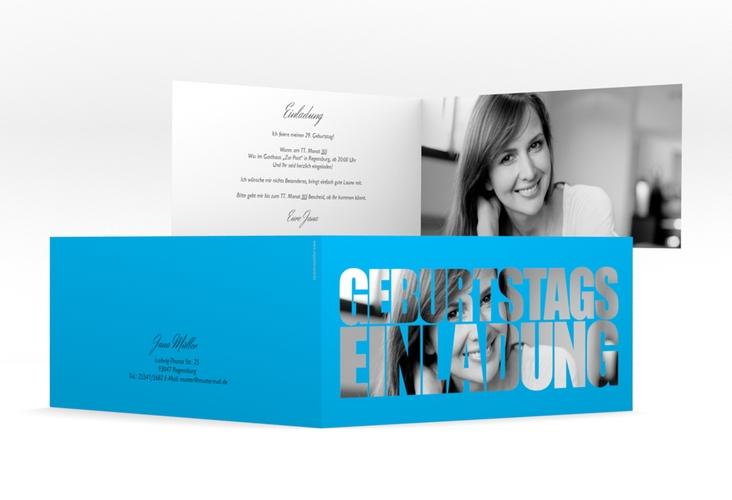 "Einladungskarte ""Jahreszahl"" DIN lang Klappkarte blau"