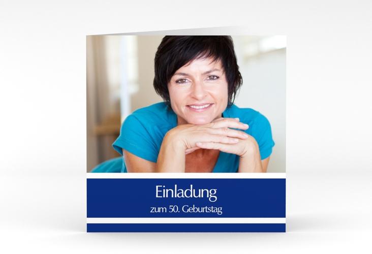 "Einladungskarte ""Gerd/Gerda"" Quadratische Klappkarte blau"