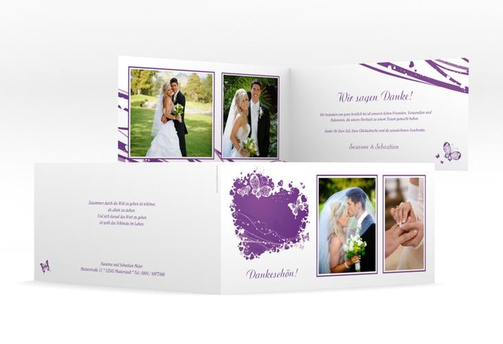 "Danksagungskarte Hochzeit ""Mailand"" DIN lang Klappkarte lila"