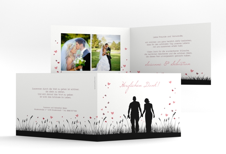 """Danksagungskarte Hochzeit """"Rouen"""" A6 Klappkarte Quer schwarz"""