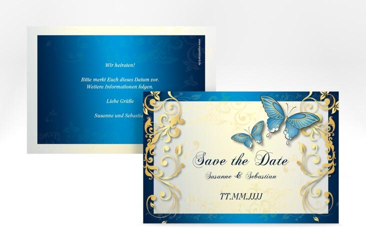 "Save the Date-Karte Hochzeit ""Toulouse"" A6 quer blau"