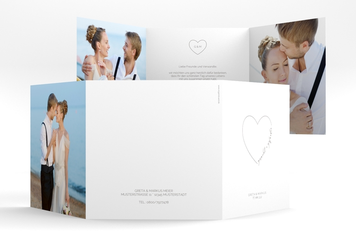 "Danksagungskarte Hochzeit ""Lebenstraum"" Quadr. Karte doppelt weiss"