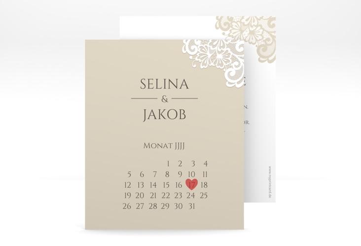 "Save the Date-Kalenderblatt ""Vintage"" Kalenderblatt-Karte beige"