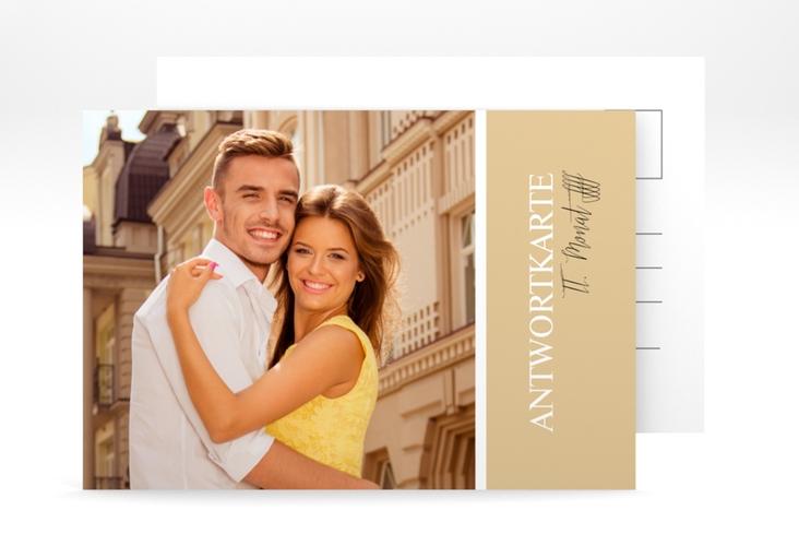 "Antwortkarte Hochzeit ""Classic"" A6 Postkarte beige"