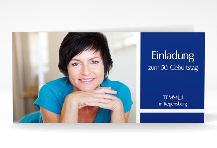 "Einladungskarte ""Gerd/Gerda"" DIN lang Klappkarte blau"