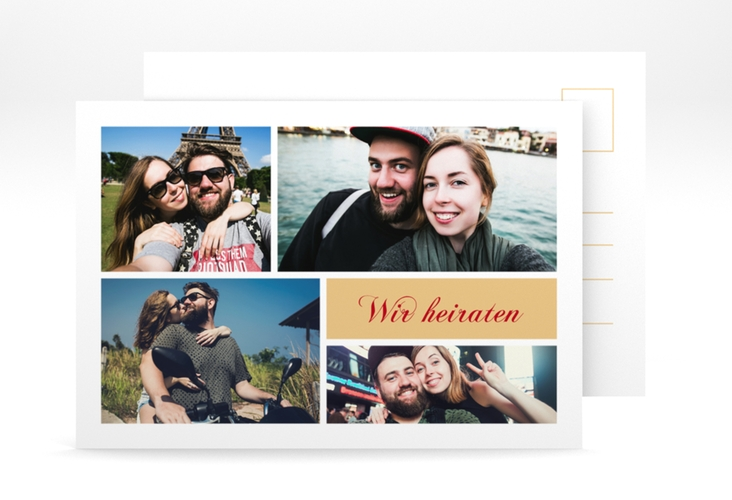 "Verlobungskarte ""Collage"" A6 Postkarte apricot"
