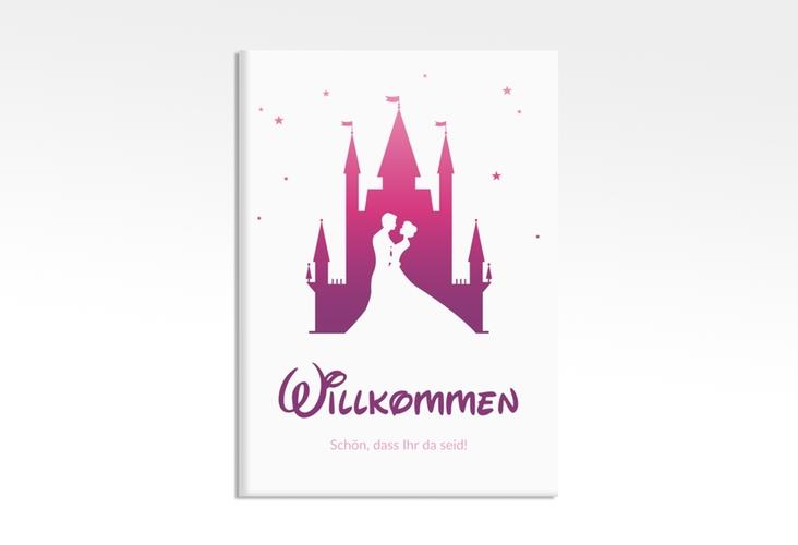 """Willkommensschild Leinwand """"Castle"""" 50 x 70 cm Leinwand pink"""