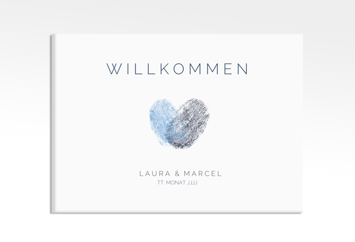 "Willkommensschild Leinwand ""Fingerprint"" 70 x 50 cm Leinwand blau"