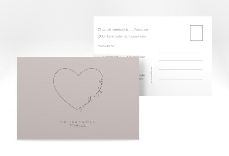 "Antwortkarte Hochzeit ""Lebenstraum"" A6 Postkarte grau"