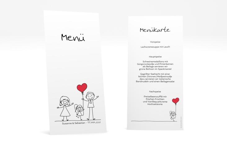 "Menükarte Hochzeit ""Familia"" DIN lang hoch weiss"