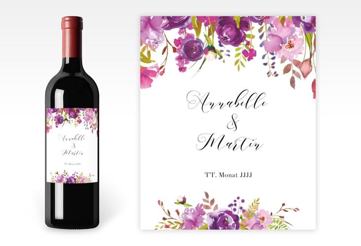 """Weinetikett zur Hochzeit """"Violett"""" Etikett Weinflasche 4er Set weiss"""