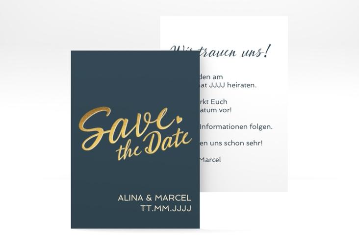 "Save the Date-Visitenkarte ""Glam"" Visitenkarte blau"