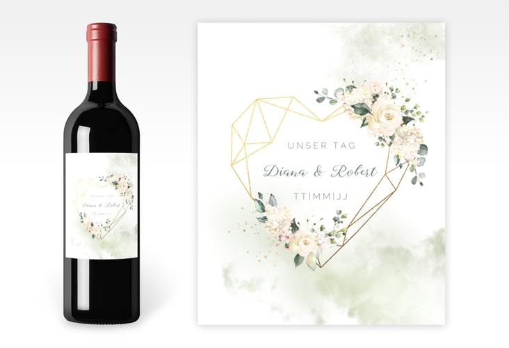 """Weinflaschenetikett Hochzeit """"Adore"""" Etikett Weinflasche 4er Set gruen"""
