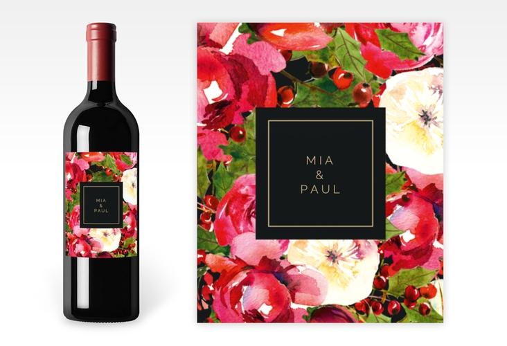 """Weinflaschenetikett Hochzeit """"Blumenpracht"""" Etikett Weinflasche 4er Set schwarz"""