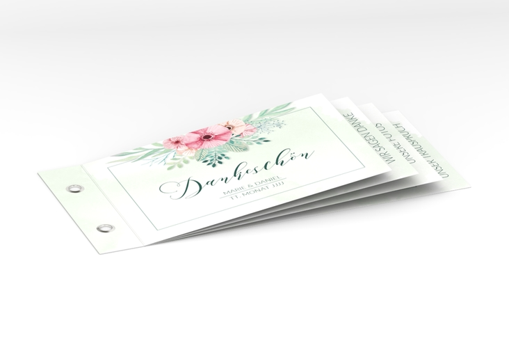 """Danksagungskarte Hochzeit """"Surfinia"""" Booklet gruen"""