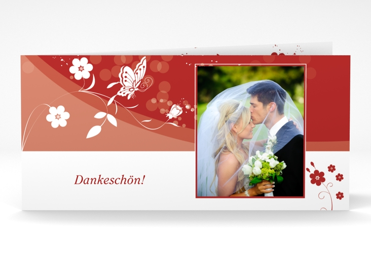 "Danksagungskarte Hochzeit ""Verona"" DIN lang Klappkarte rot"