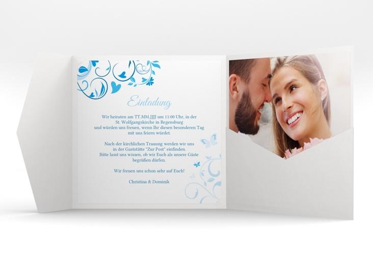 """Hochzeitseinladung """"Lilly"""" Pocketfold blau"""