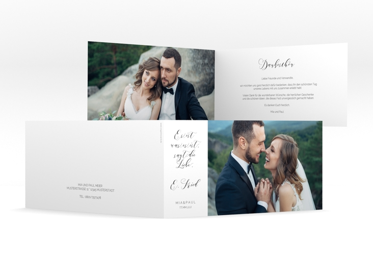 "Danksagungskarte Hochzeit  ""Paperlove"" DIN lang Klappkarte"