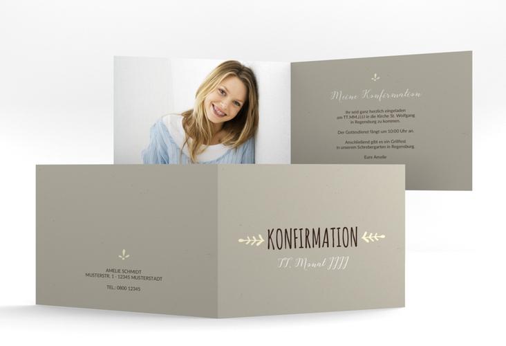 """Einladung Konfirmation """"Branch"""" A6 Klappkarte Quer"""