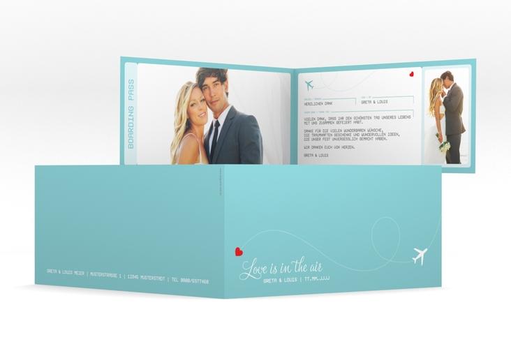 """Dankeskarte Hochzeit """"Weddingpass"""" DIN lang Klappkarte"""